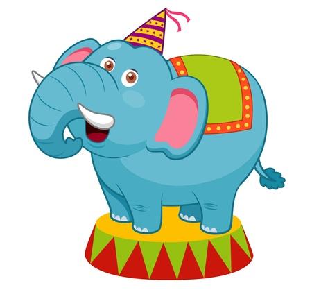 elephant cartoon: Cartoon illustrazione di elefante del circo