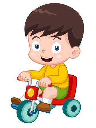 caricatura: ilustración del muchacho en una bicicleta