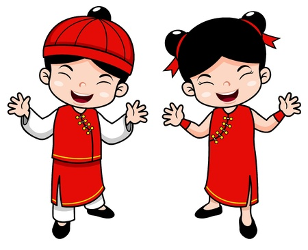 illustration of Cartoon Chinese Kids Stock Vector - 17214039