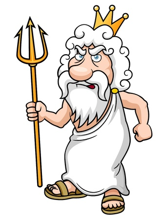 greek god: illustration of Cartoon Poseidon with Trident