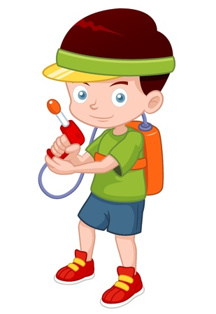 water gun: illustration of Cartoon boy with toy gun Illustration