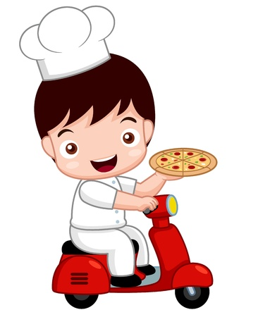 take: illustration of Cartoon Cute pizza chef on bike