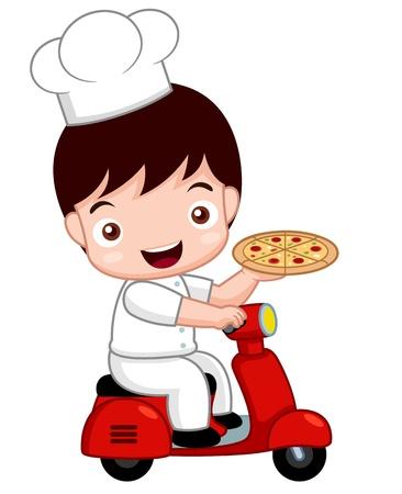 delivering: ilustraci�n de dibujos animados lindo de la pizza chef en bicicleta