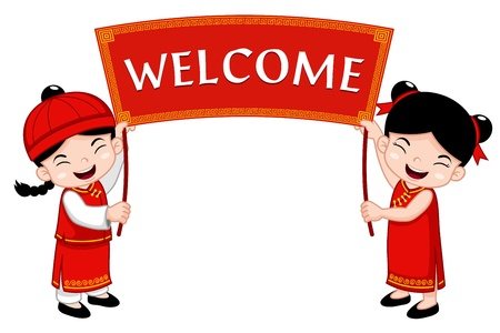 Chinese Kids with Welcome sign Stock Vector - 17307120