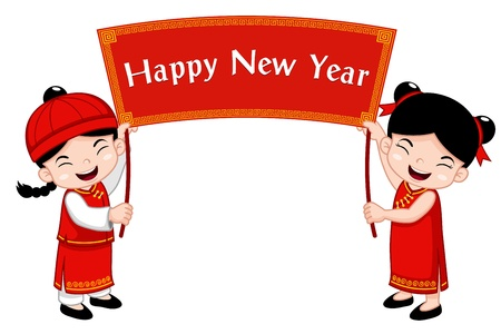 Chinese Kids with Happy New Year sign Stock Vector - 17307119