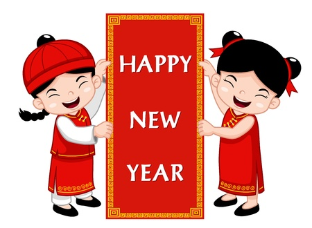 wu: Chinese Kids with Happy New Year sign