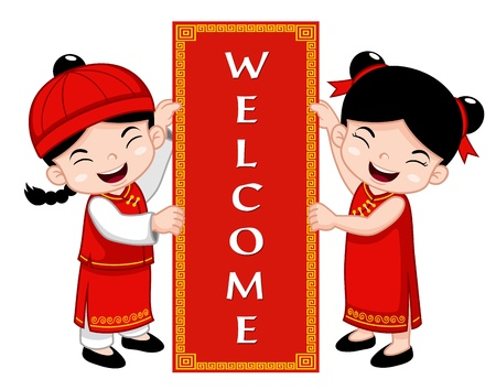 Chinese Kids with Welcome sign Stock Vector - 17307118
