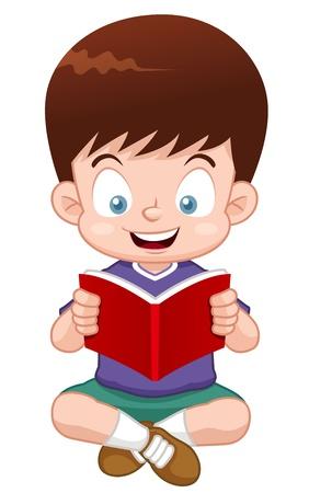 ilustración del libro de lectura Boy Ilustración de vector