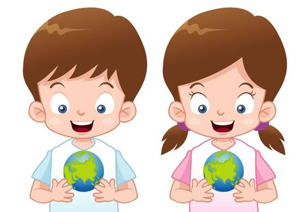 cartoon world: illustration of Kids with globe