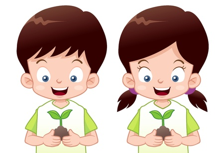 illustration of Kids is planting small plant Vector