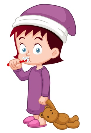 illustration of Girl brushing her teeth Vector