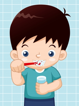 tooth cleaning: illustration of Boy brushing his teeth Illustration