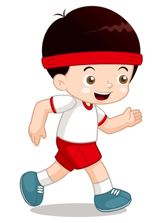 one boy: illustration of Cartoon boy jogging