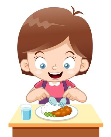 niños comiendo: ilustración de dibujos animados de comer Chica