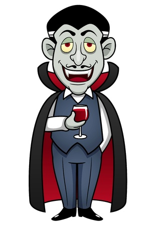 illustration of Cartoon Count Dracula with glass of blood Vector