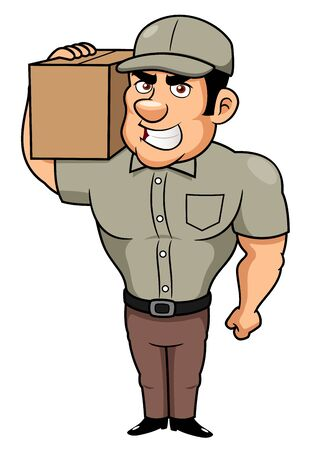 strong box: illustration of Cartoon delivery man