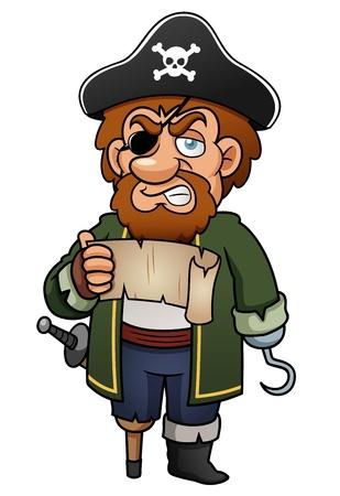 mann bad: Illustration der Cartoon Piraten