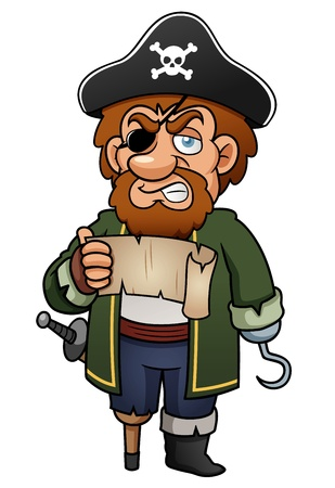 burglar man: illustration of Cartoon pirate