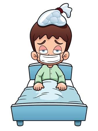 illustratie van zieke jongen cartoon