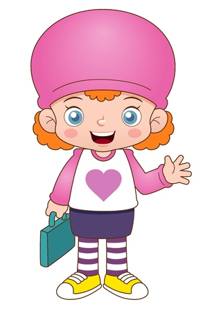 illustration of Cartoon girl back to school Vector