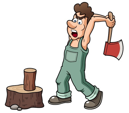 wood cutter: illustration of Man chopping wood