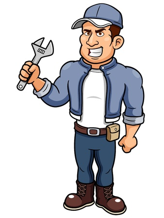 overalls: illustration of Cartoon mechanic holding a wrench Illustration