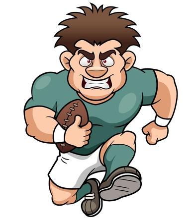 ballon de rugby: illustration de bande dessin�e joueur de rugby Illustration