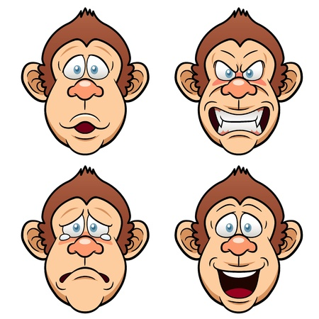 Illustration of Cartoon Face Monkeys Vector