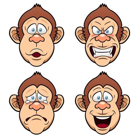 animal sad face: Illustration of Cartoon Face Monkeys