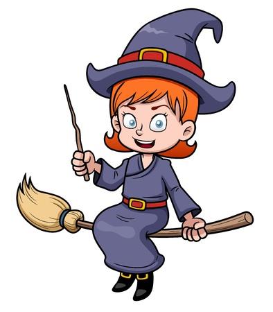 wiedźma: Ilustracja cartoon latania czarownica na miotle