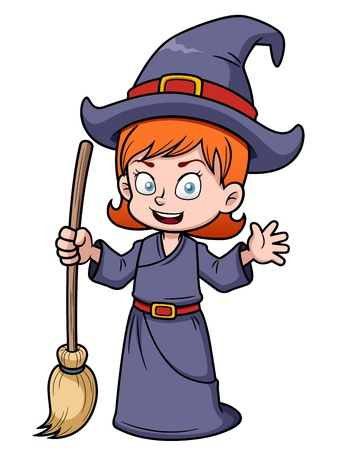 illustration of cartoon witch with broomstick Vector