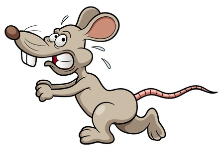 scared: illustration of Cartoon rat running