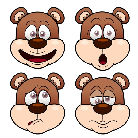 Illustration of Cartoon Bear face Vector