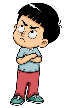 illustration of Angry teenage boy Vector