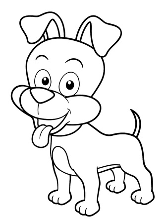 mutt: illustration of Cartoon Dog - Coloring book