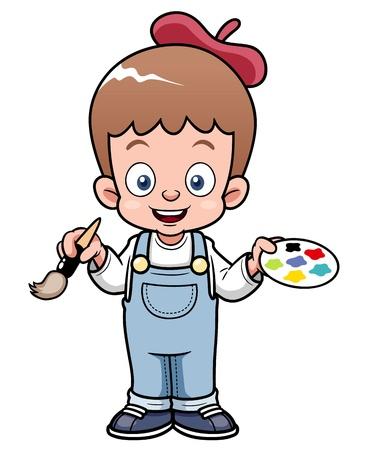 masterpiece: illustration of Cartoon artist boy
