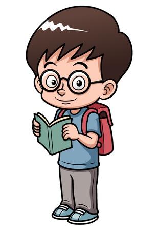 ir al colegio: ilustración del muchacho va a la escuela
