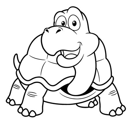 coloring book: illustration of Cartoon turtle - Coloring book Illustration