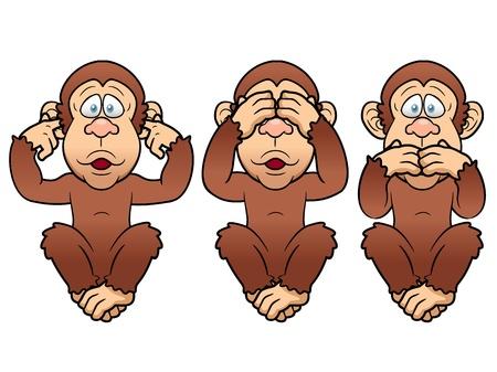 illustratie van cartoon Drie apen - zien, horen, spreek geen kwaad Vector Illustratie