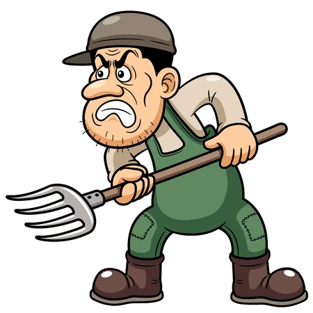 illustration of Cartoon Farmer angry Vector