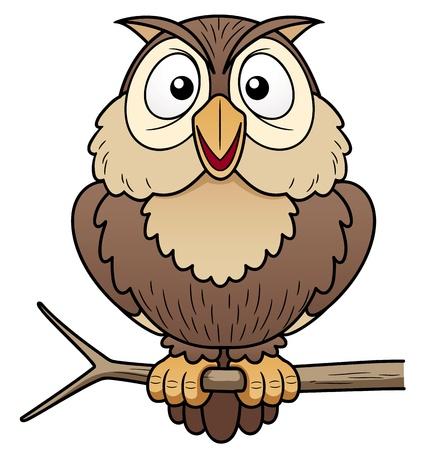 illustratie van de cartoon uil zittend op boom tak