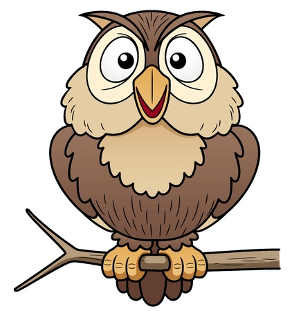 owl symbol: illustration of Cartoon owl sitting on tree branch