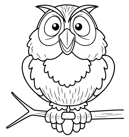 illustration of Cartoon owl sitting on tree branch - Coloring book