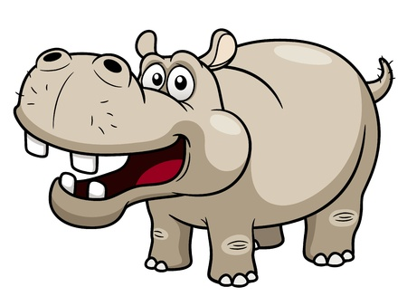 illustration of Cartoon Hippopotamus Vector
