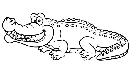 illustration of Cartoon crocodile - Coloring book Vector