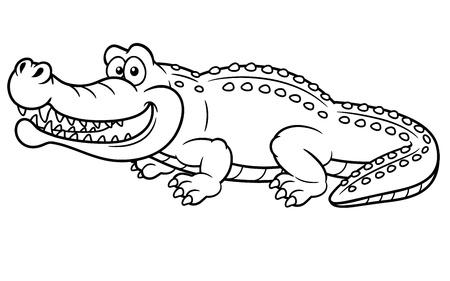 crocodile: ilustración de dibujos animados de cocodrilo - Coloring book