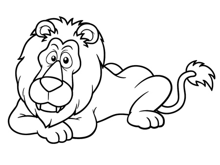 africa outline: illustration of Cartoon lion - Coloring book