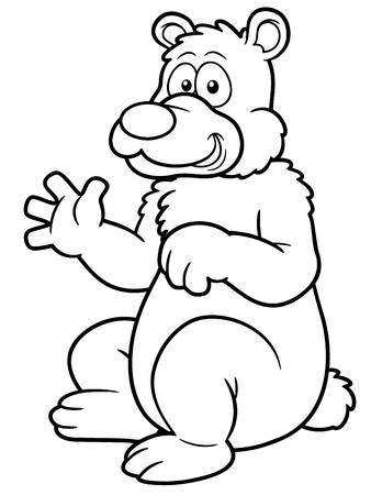 illustration of Cartoon bear - Coloring book Vector
