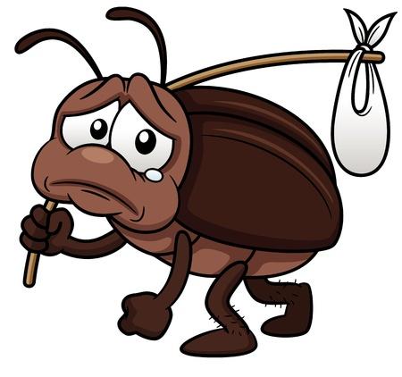 illustrazione del cartone animato scarafaggio uscire