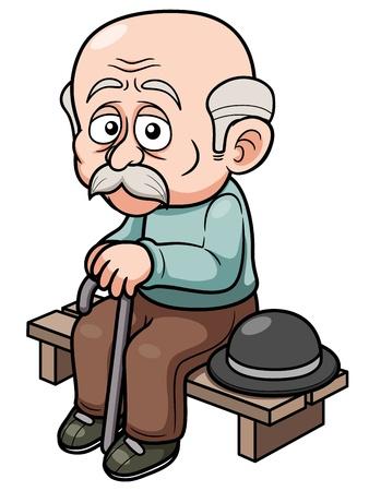 anciano: ilustración de dibujos animados Antiguo hombre sentado banco